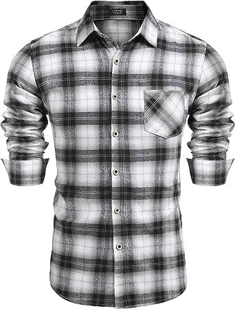 COOFANDY Camisa de manga larga a cuadros para hombre, ajuste regular, fácil de planchar, a cuadros