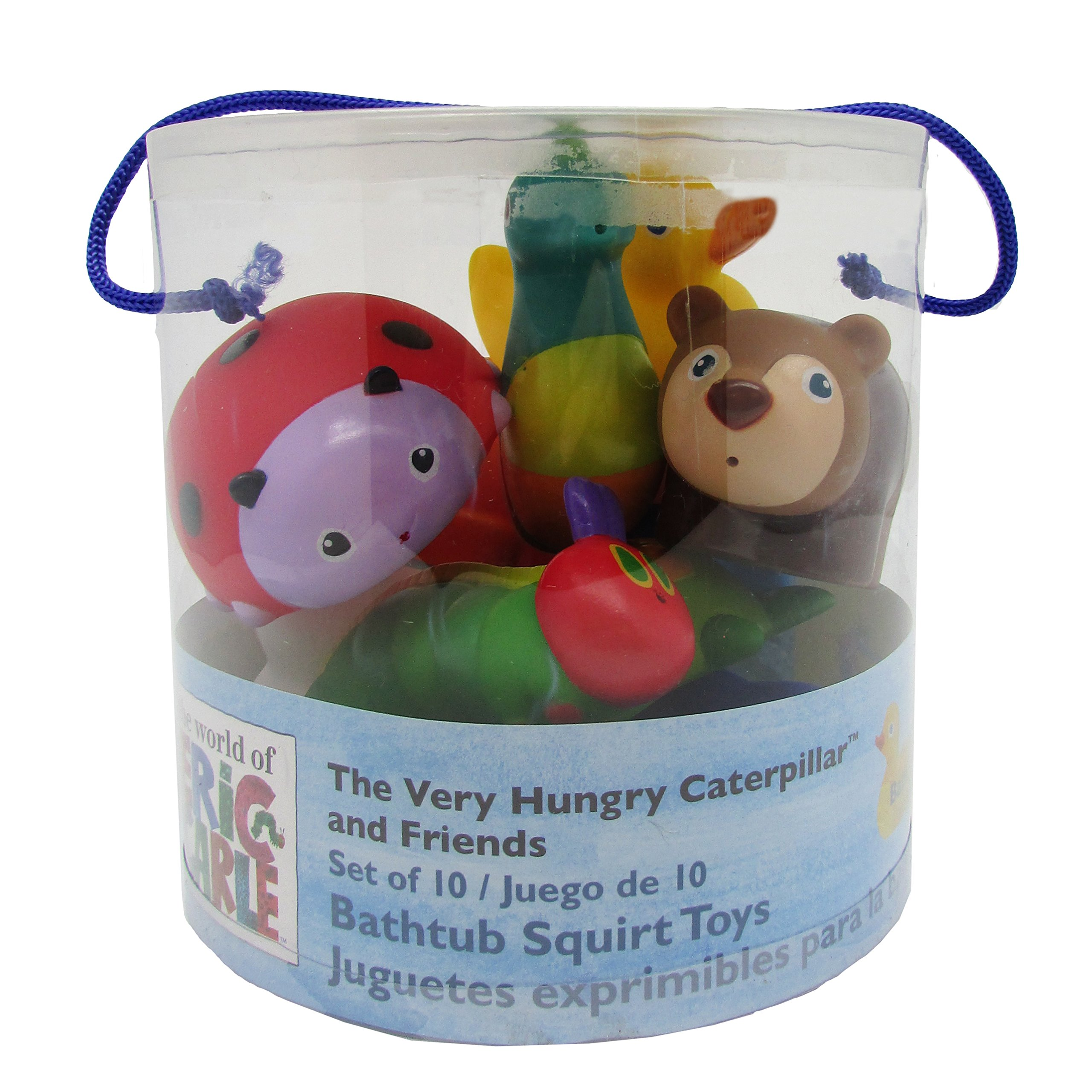 Eric Carle The Very Hungry Caterpillar 10 Piece Bathtub Squirty Toys Set, 5.5''