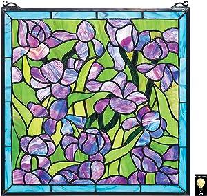 Design Toscano HD575 Van Gogh Saint-Remy Irises Stained Glass Window Hanging Panel, 17 Inch, Purple Iris