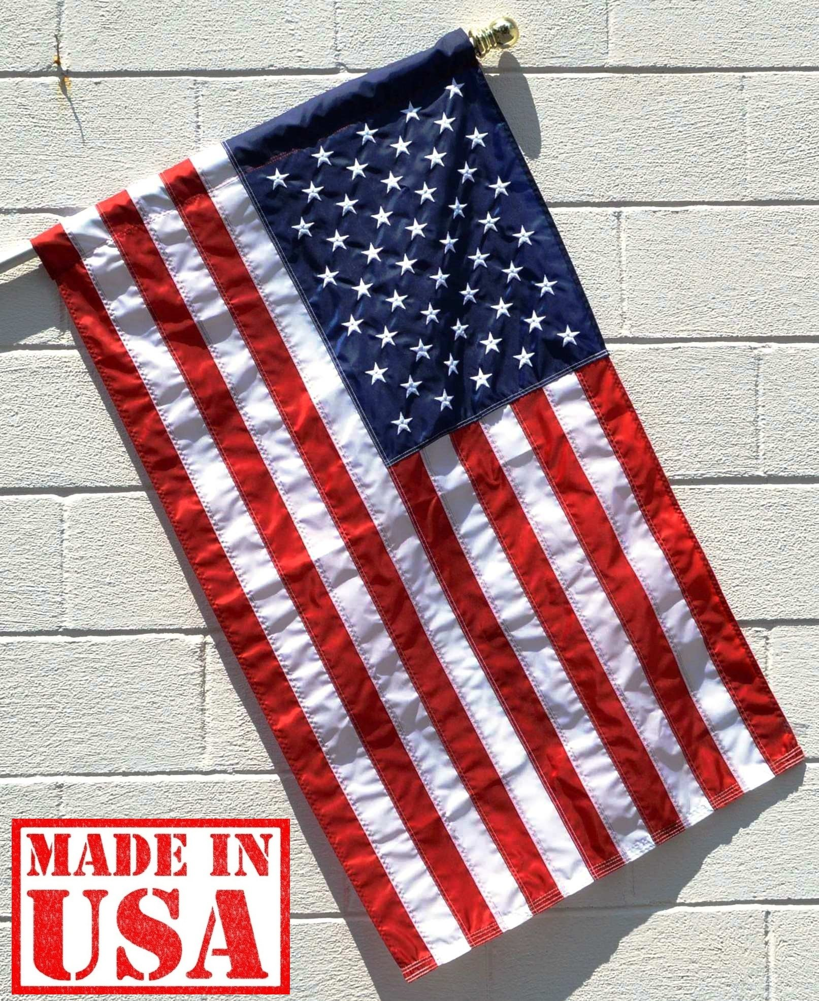 US Flag Factory - 3'x5' US USA AMERICAN FLAG (Pole Sleeve) (Embroidered Stars & Sewn Stripes) Outdoor SolarMax Nylon, UV fading resistant - Premium Quality - 100% Made in America