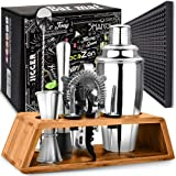 Cocktail Shaker Set with Bar Mat | Bartender Mixing Tool Kit with Elegant Wooden Stand | Premium Bar Set | Best Gifts Ideas f