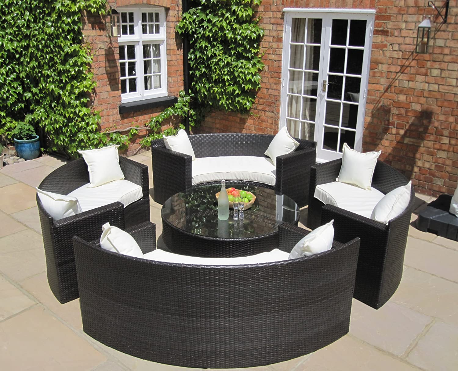 lauren luxury grey rattan garden furniture circular sofa and coffee table set amazoncouk kitchen home