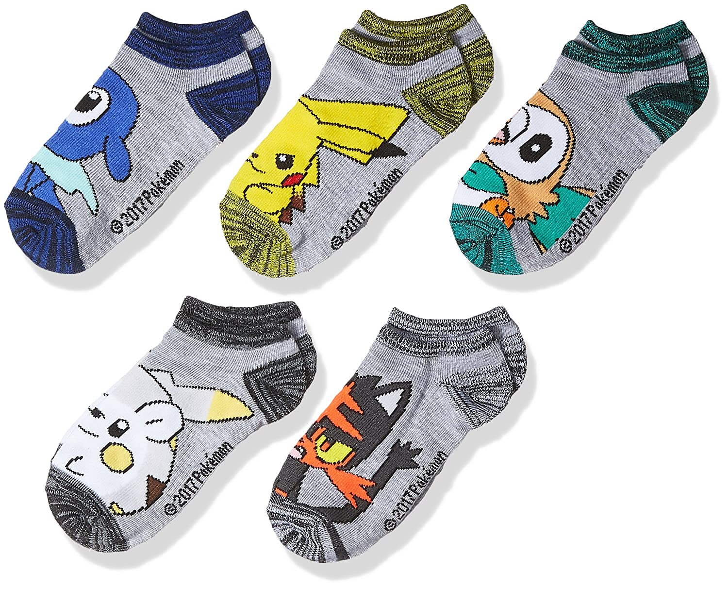 Pokemon Boys' 5-Pack No Show Socks Grey Light 6-8.5 E80441
