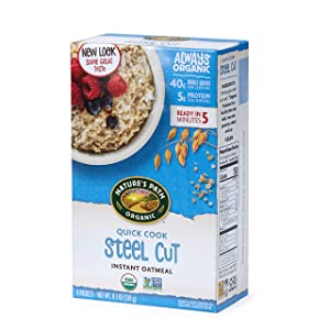 Nature's Path Quick Cook Steel Cut Instant Oatmeal, Healthy, Organic, 8 Pouches per Box, 11.2 Ounces (Pack of 6)