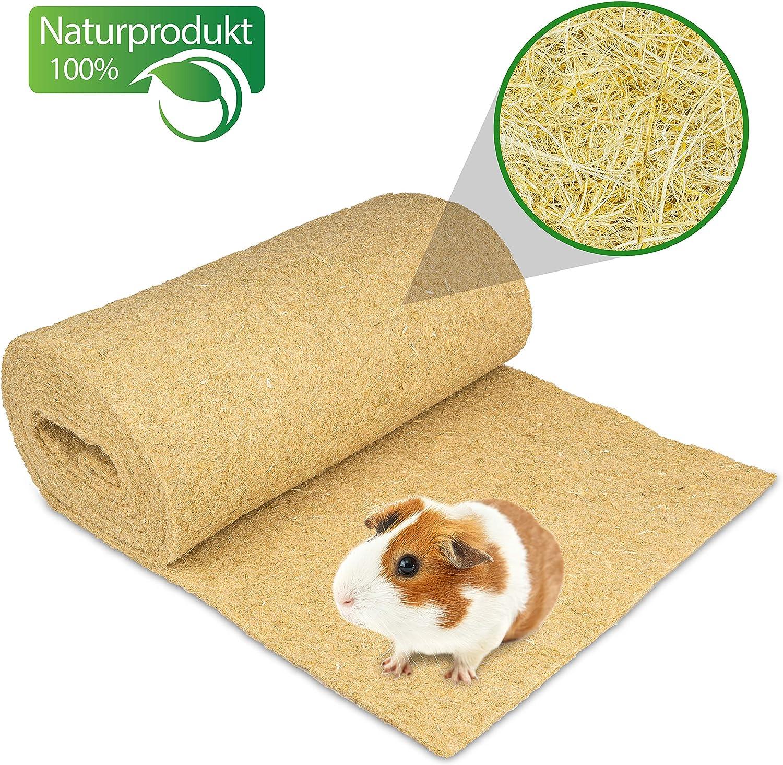 Alfombra para roedores de cáñamo 100% orgánico, Rollo de 5 m de Longitud x 40 cm de Ancho y 5 mm de Grosor. Alfombra de cáñamo