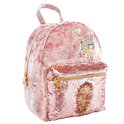 ae1a49d9112 Amazon.com  Style. Lab Crushed Velvet Sequin Pocket Mini Backpack ...