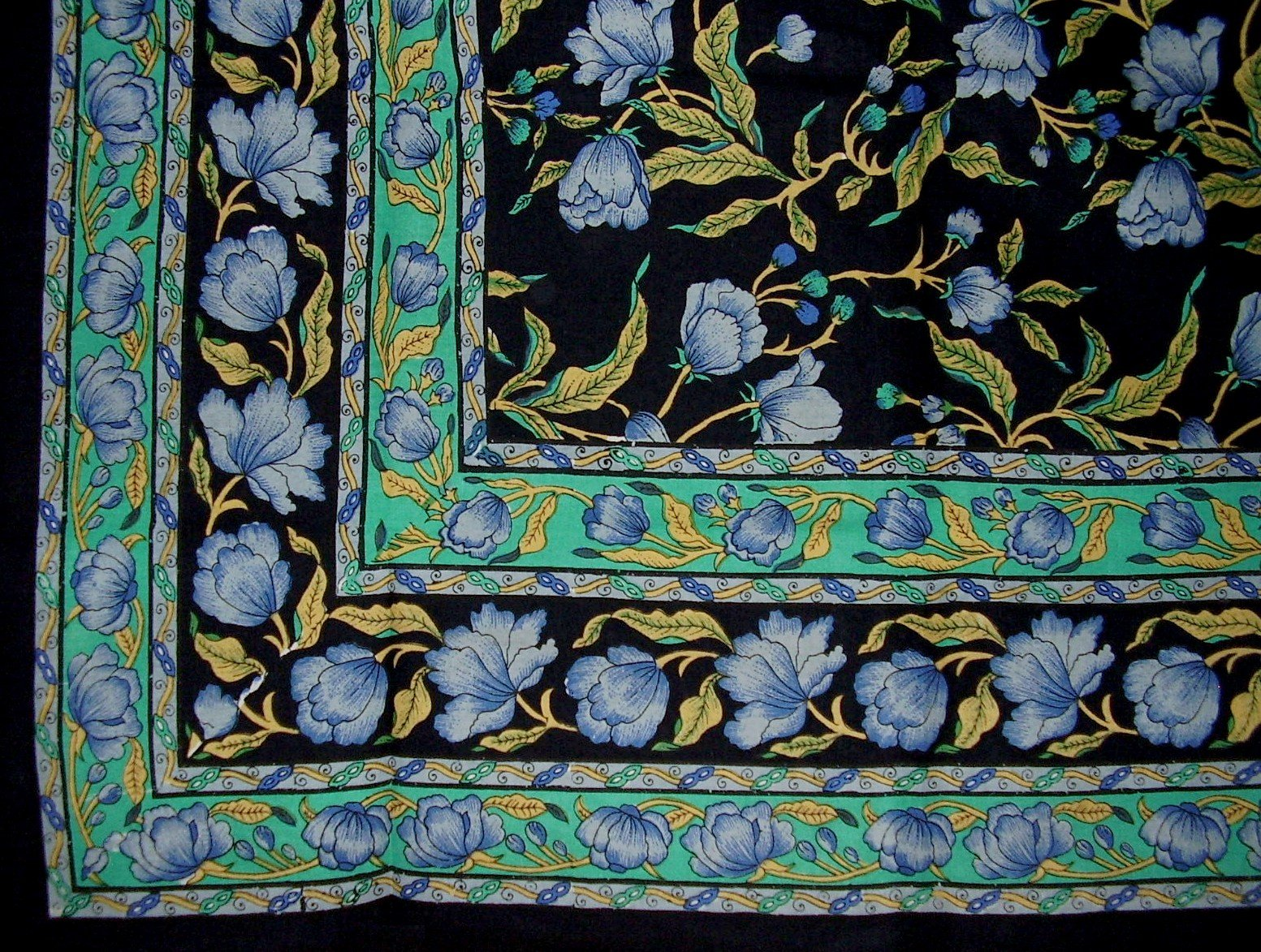 India Arts French Floral Tapestry Cotton Bedspread 106'' x 70'' Twin Blue on Black