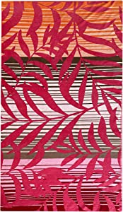 Over Sized Luxury Beach Towel, Large Size 70 Inch x 40 Inch Soft Velour and Reversible Absorbent Cotton Terry, Thick and Plush Jacquard Beach Towels, Sunset Palms