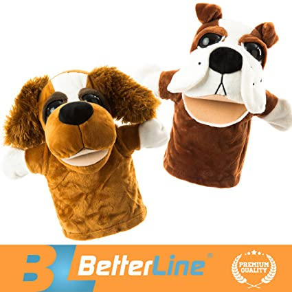 BETTERLINE Animal Hand Puppets Set of 2 Premium Quality, 9 5 Inches Soft  Plush Hand Puppets for Kids- Perfect for Storytelling, Teaching, Preschool,