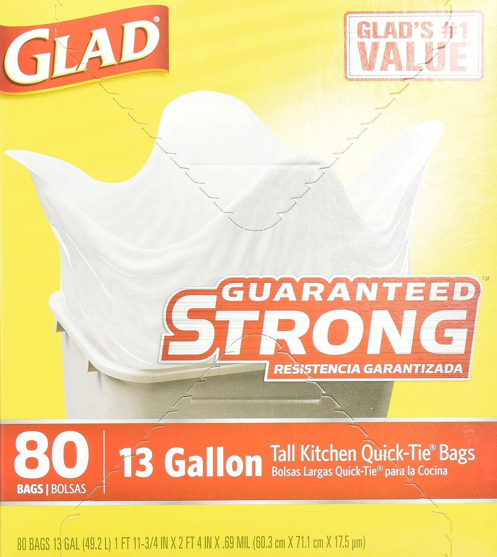 Amazon.com: Glad Quick-Tie Tall Kitchen Bags, 13 Gallon, 80 bags ...