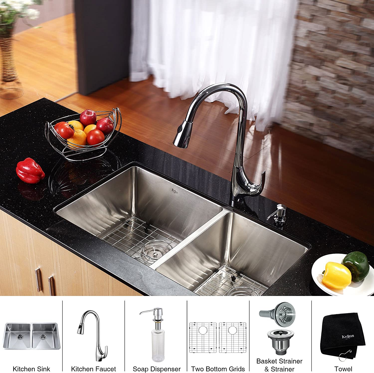 Kraus KHU102-33-KPF1621-KSD30CH 33 inch Undermount Double Bowl Stainless Steel Kitchen Sink with Chrome Kitchen Faucet and Soap Dispenser