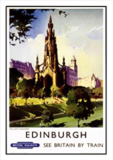 Vintage Retro Travel Poster Art Deco Edinburgh Scotland - Photo ...