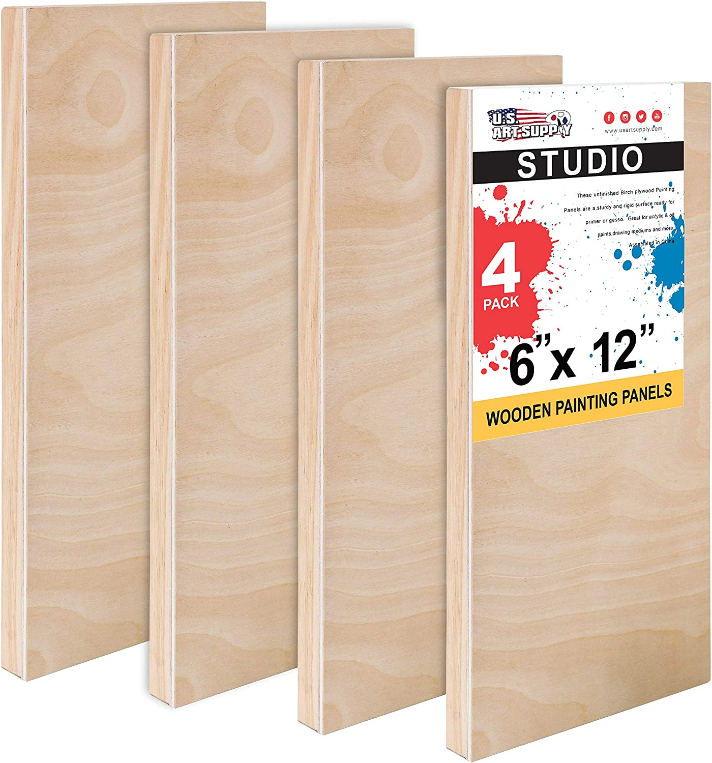 U.S Acrylic Pack of 2 Epoxy Pouring - Artist Depth Wooden Wall Canvases Art Supply 36 x 48 Birch Wood Paint Pouring Panel Boards Painting Mixed-Media Craft Oil Gallery 1-1//2 Deep Cradle