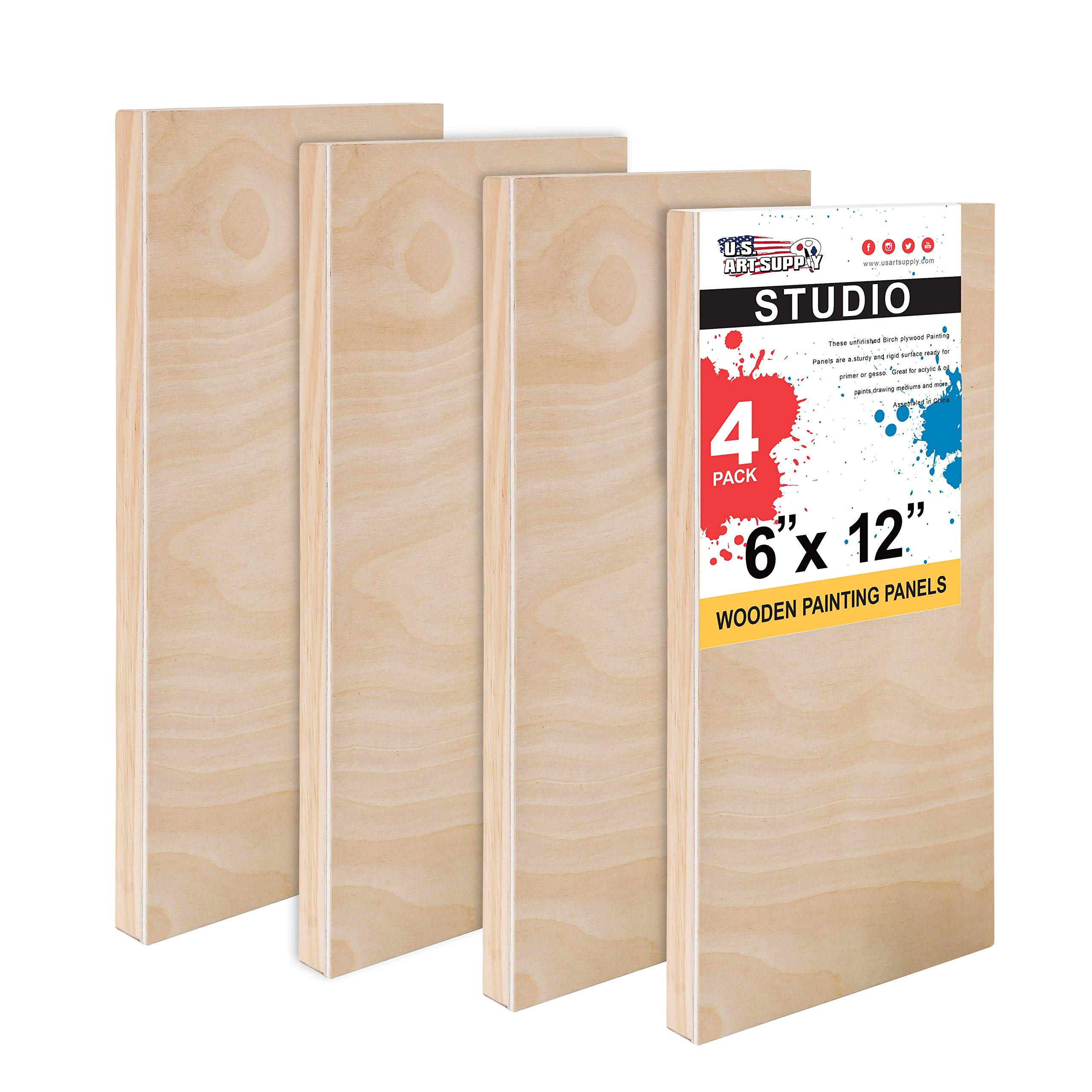 U.S. Art Supply 6'' x 12'' Birch Wood Paint Pouring Panel Boards, Studio 3/4'' Deep Cradle (Pack of 4) - Artist Wooden Wall Canvases - Painting Mixed-Media Craft, Acrylic, Oil, Watercolor, Encaustic by U.S. Art Supply