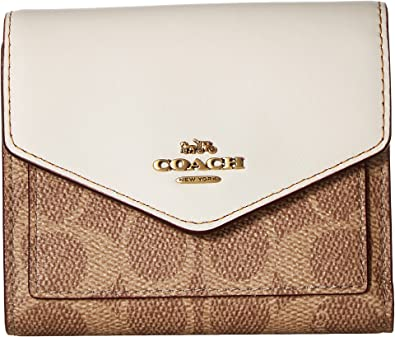 c14c71050302d COACH Women s Small Wallet in Color Block Coated Canvas Signature B4 Tan  Chalk One Size