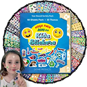 Go.Me.Products 2690 Scrapbooking Stickers for Kids & Toddlers Pack, Mega Value Set of 60 Assorted Shiny Stickers Bulk of Vinyl sheets for Reward charts & fun. Ideal for parents & kindergarten teachers