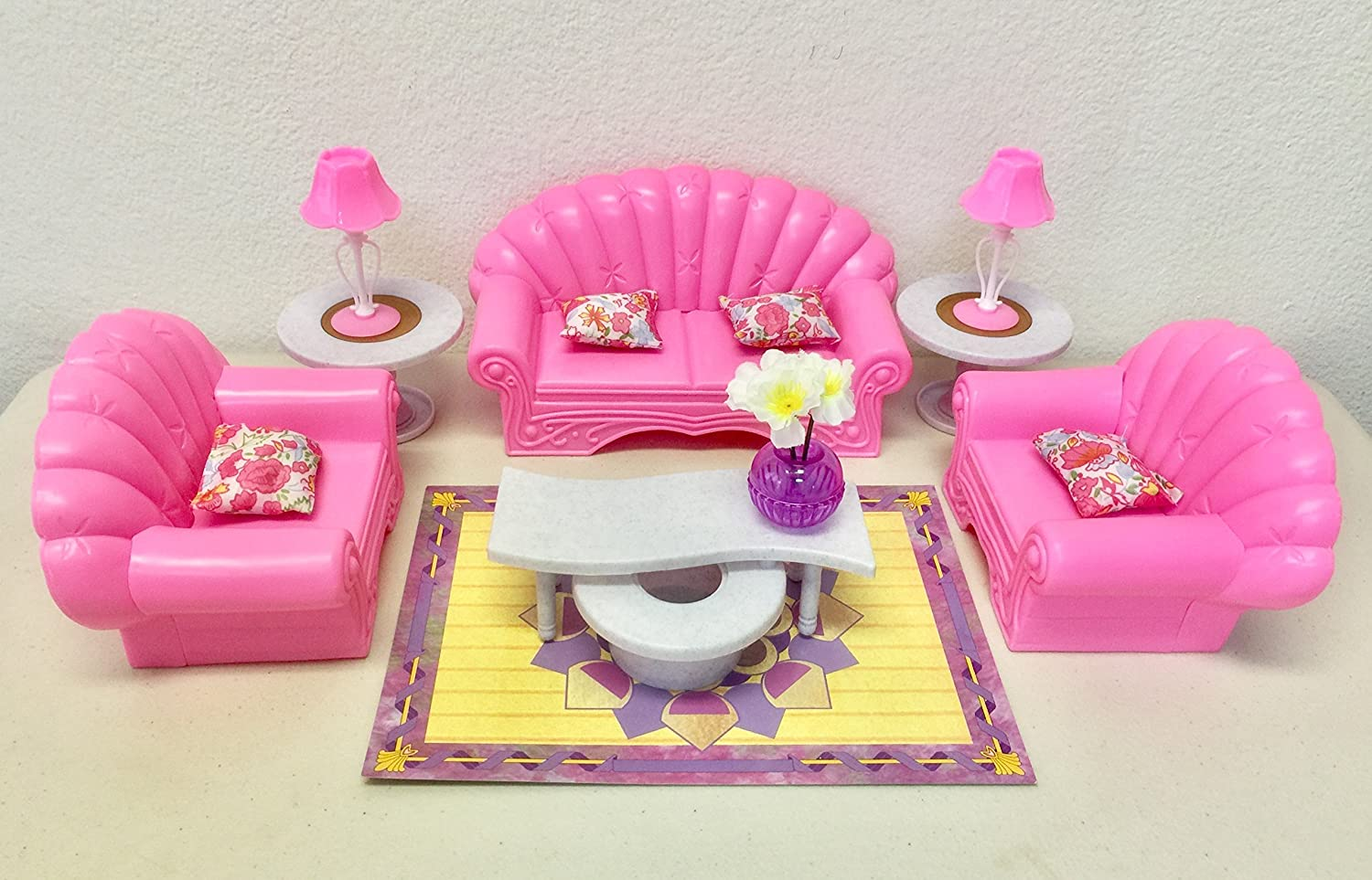 Amazon.com: Gloria Barbie Size Dollhouse Furniture   Living Room Set: Toys  U0026 Games