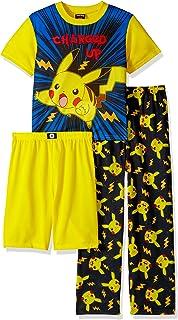 523418aefb Amazon.com: Pokemon Boys' Pikachu 4-Piece Cotton Pajama Set: Clothing
