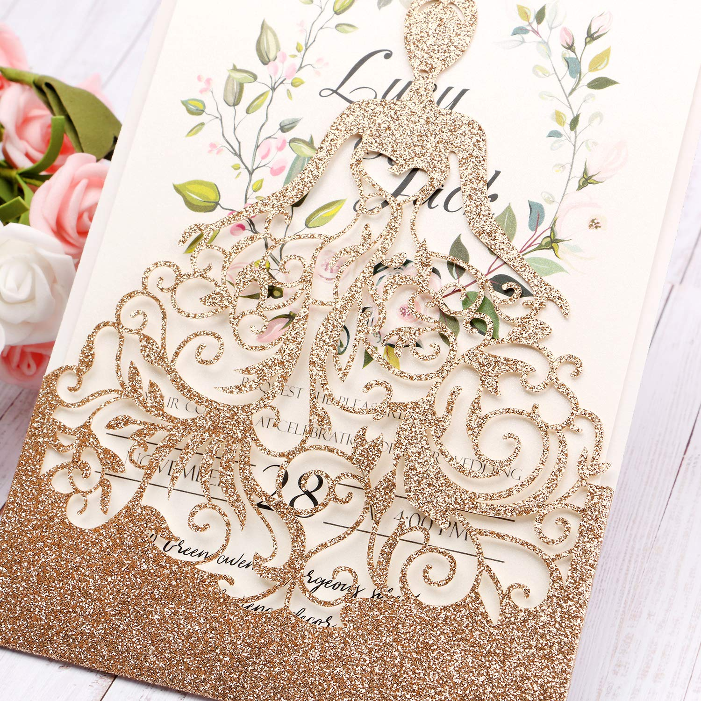 HIGHYI Wedding Invitation Card-Laser Cut Rose Gold Glitter Hollow Bride 25PCS Paper Card Set For Wedding Engagement Birthday Baby Shower Dinner (DIY Blank Inner Sheet) by HIGHYI (Image #4)