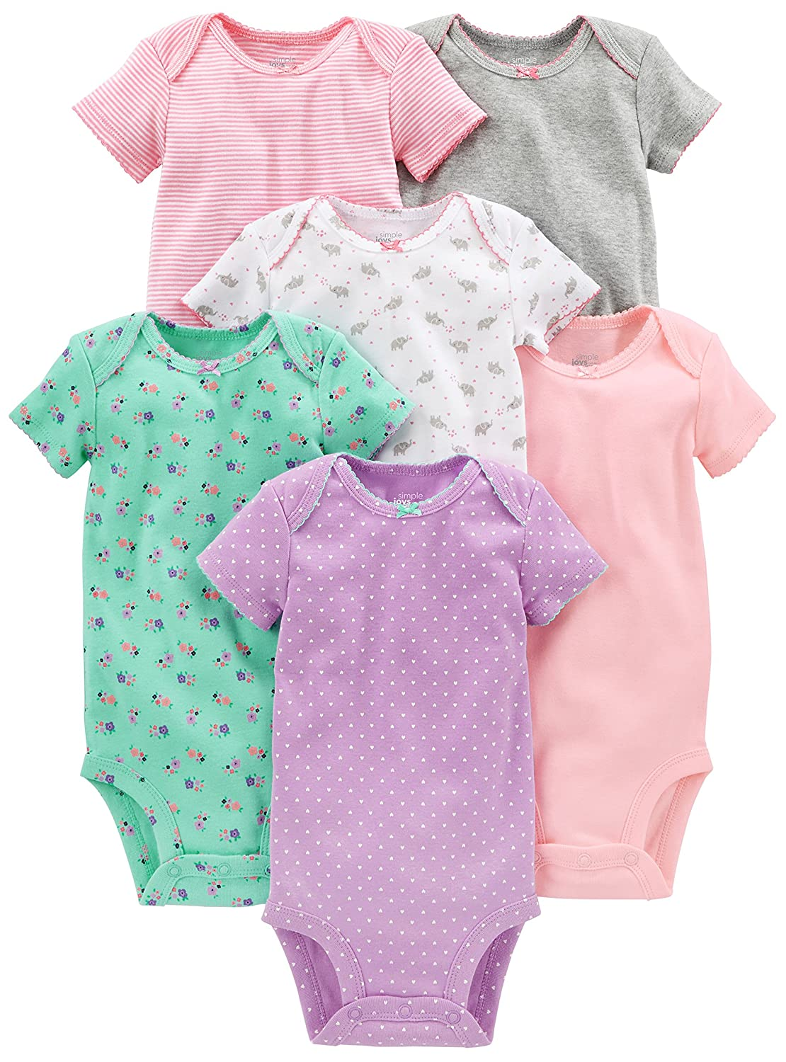 Simple Joys by Carter's Baby Girls 6-Pack Short-Sleeve Bodysuit Simple Joys by Carter' s