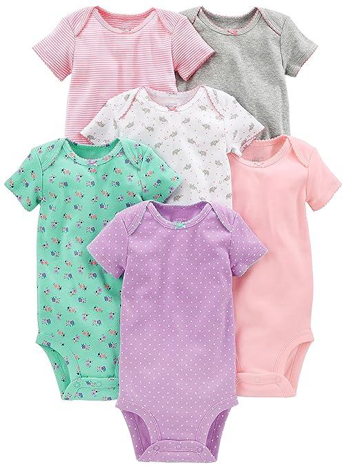f10c322db Simple Joys by Carter 039 s Baby Girls 6-Pack Short-Sleeve Bodysuit ...