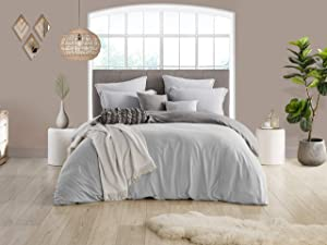 Swift Home Reversible Microfiber Washed Crinkle Duvet Cover & Sham (1 Duvet Cover with Zipper Closure & 2 Pillow Shams), Premium Hotel Qaulity Bed Set, Ultra-Soft – Full/Queen, Silver/Grey