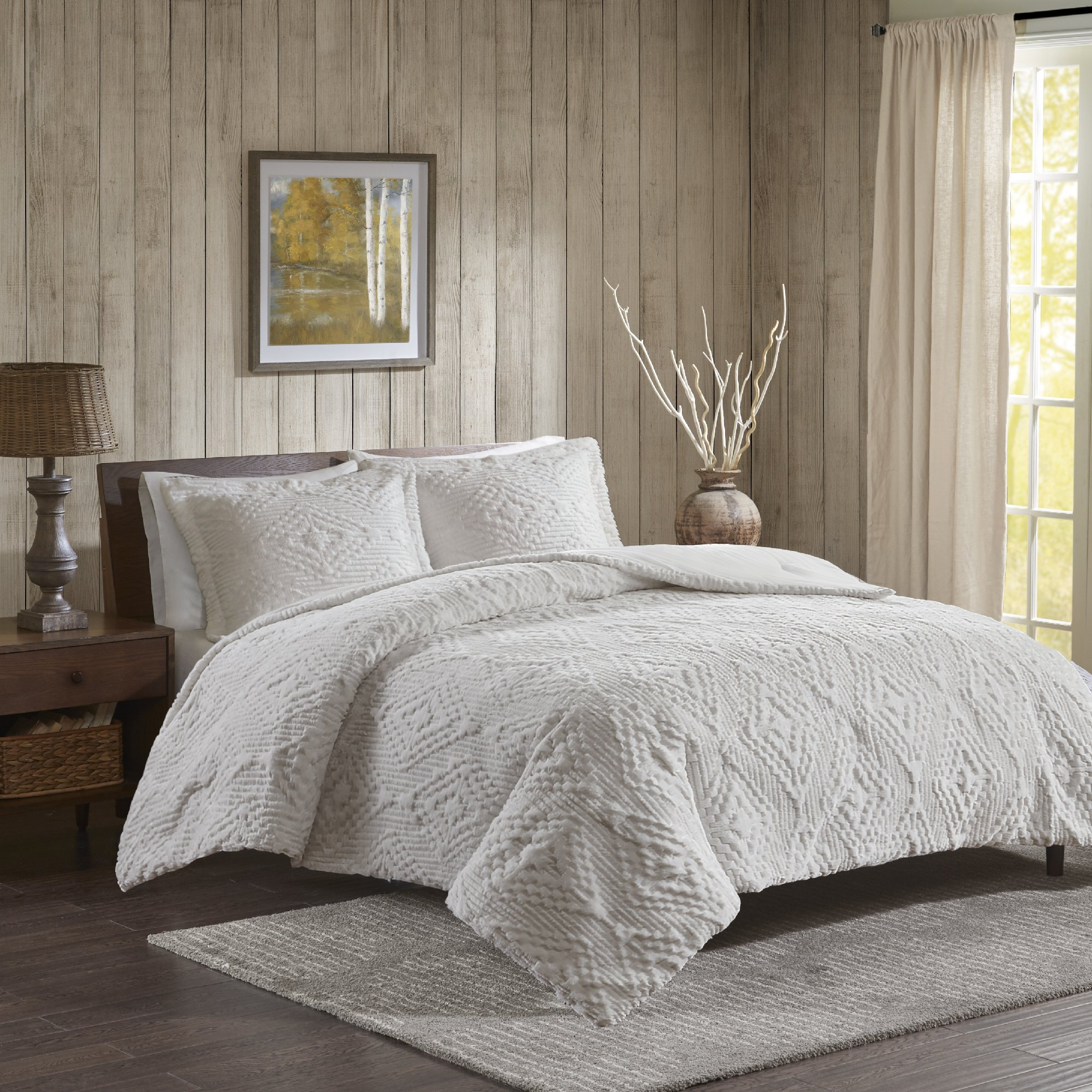 Woolrich Teton Full/Queen Size Quilt Bedding Set - Ivory, Embroidered – 3 Piece Bedding Quilt Coverlets – Ultra Soft Microfiber Bed Quilts Quilted Coverlet