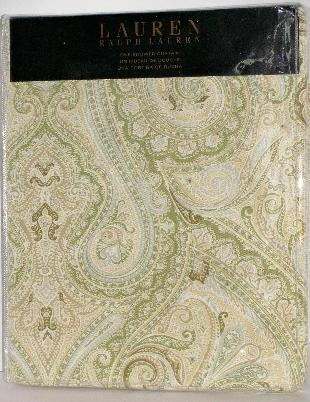 Amazon Lauren By Ralph Shower Curtain Fabric 70 X 72 Fenton Paisley Yellow Sage Grey White Home Kitchen