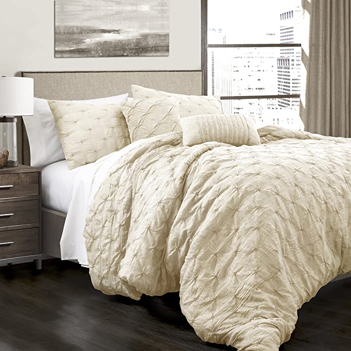 Lush Decor Ravello Comforter Shabby Chic Style Pintuck 5 Piece Set with Pillow Shams-Size: King, Ivory
