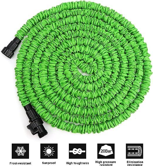 ATLES Manguera de jardín extensible, ligera y duradera, manguera de agua expandible, 3/4 de ajuste sólido y doble núcleo de látex flexible manguera de jardín para limpieza de coche césped riego: Amazon.es: