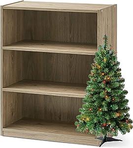 Mainstay 3-Shelf Bookcase Wide Bookshelf Storage Wood Furniture and X Tree Bundle (Rustic Oak)