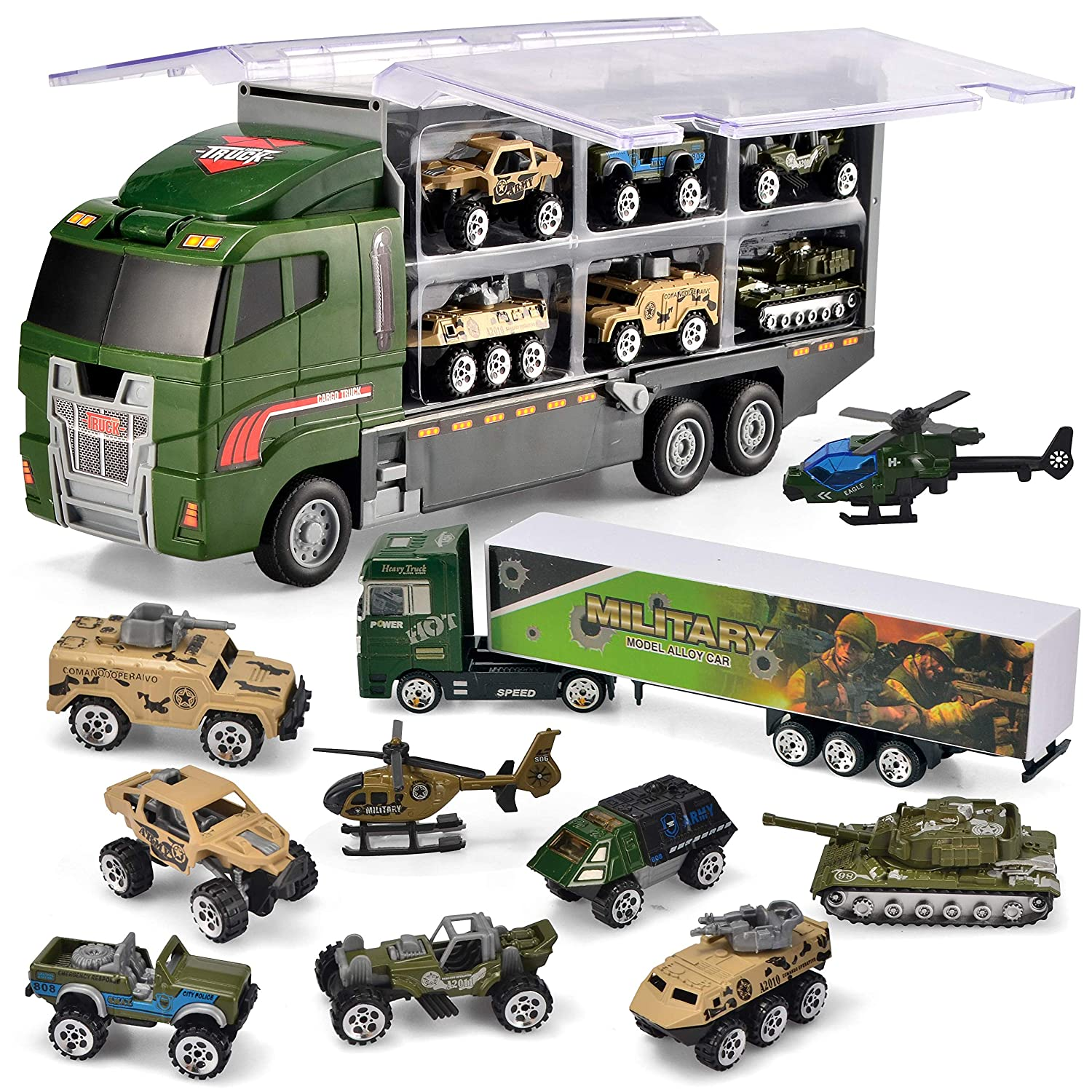 JOYIN 10 in 1 Die cast Military Truck Army Vehicle Mini Battle Car Toy Set in Carrier Truck