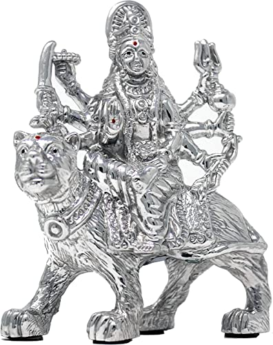 CaratCafe Maa Durga Sherawali Ma Ambe MATA Idol Pure Silver 999 Statue,BIS Hallmark Certified for Puja Temple Good Luck Gift Home Decor NET WT 33-36 GMS 2.7 x 1.5 x 3.7 Inch