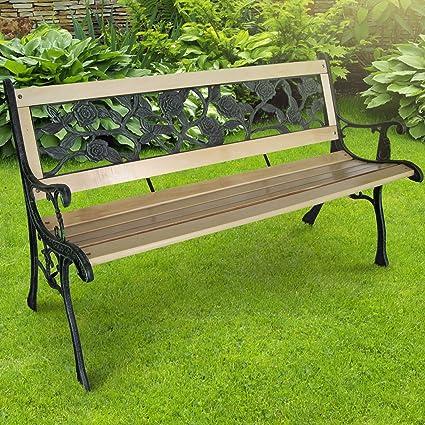 122 x 56 x 74 cm con design a croce Miadomodo Panca giardino esterno panca in legno con ghisa ca