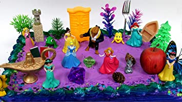 22 Piece Princess Birthday Cake Topper Set Featuring Cinderella Snow White Beauty And The
