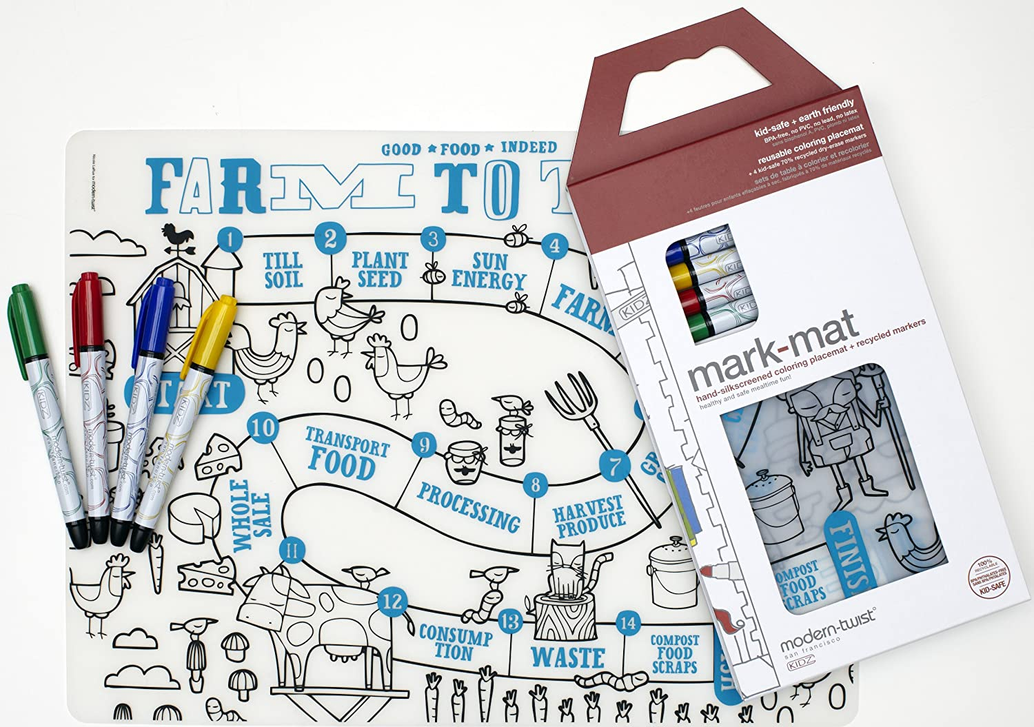 Amazon: Moderntwist Kids Markmat Silicone Coloring Placemat With 4  Dryerase Markers, Farm To Table: Home & Kitchen