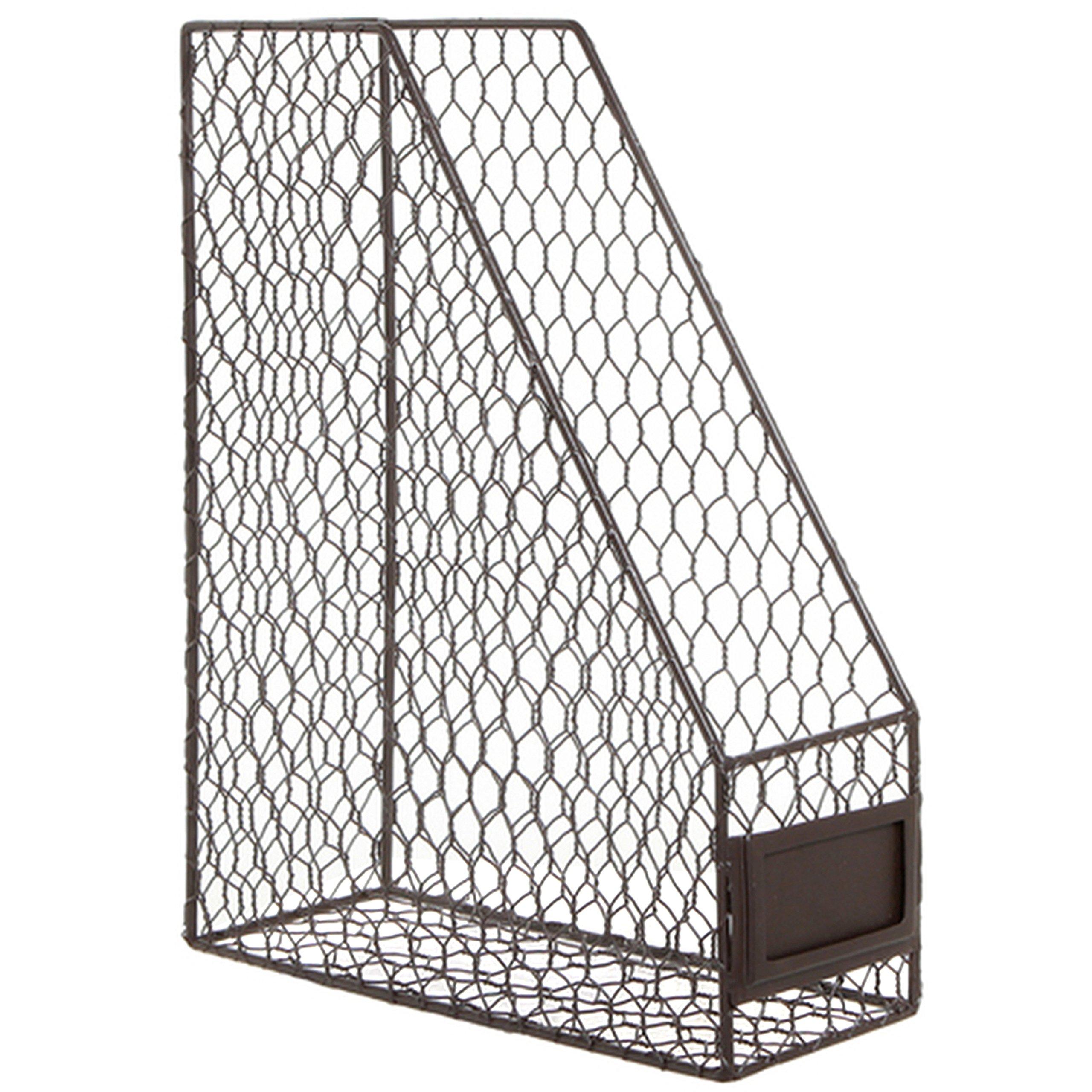 Rustic Chicken Wire Magazine, Office Document, File Holder Shelf Organizer Basket w/Chalkboard Label by MyGift