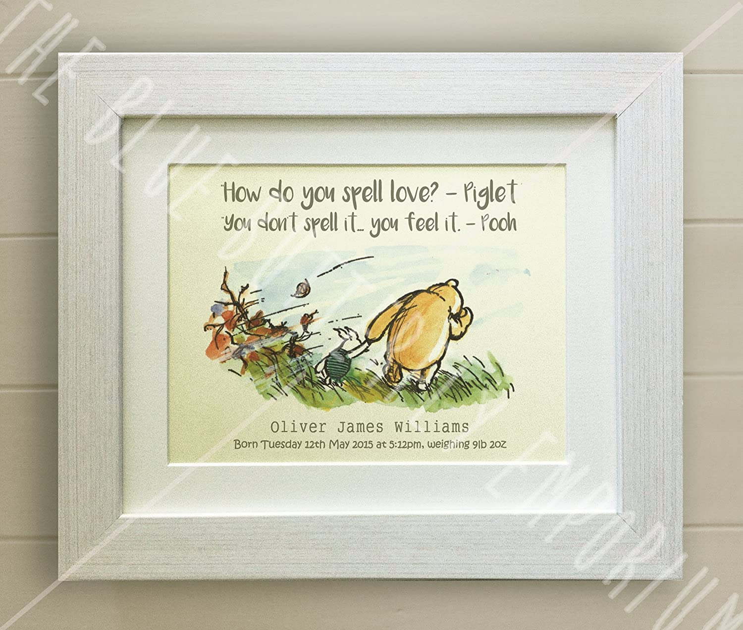 PERSONALISED WINNIE THE POOH FRAMED QUOTE PRINT, New Baby/Birth, Nursery Picture Gift, Pooh Bear, Piglet, How do you spell love? (White Frame) The Blue Butterfly Emporium