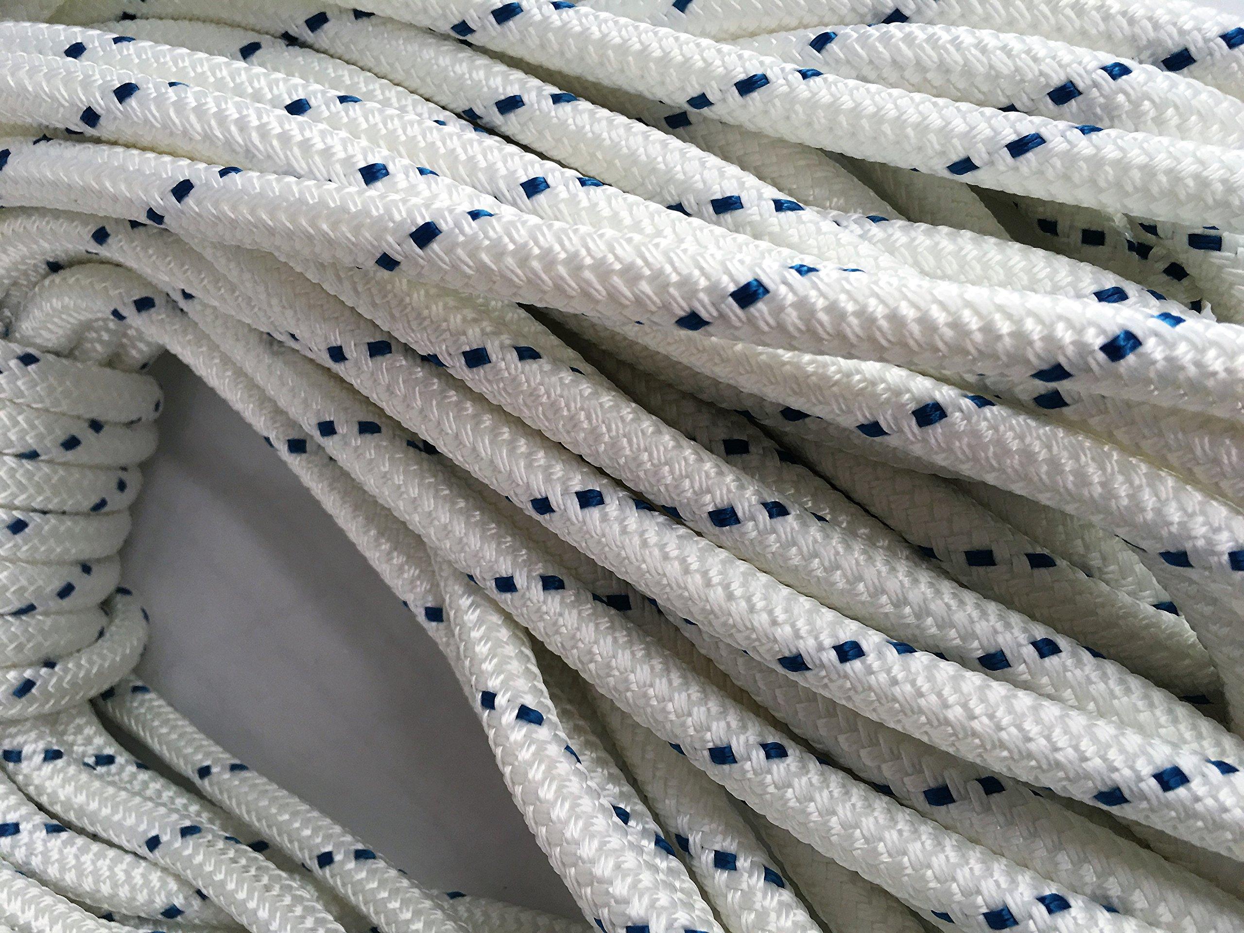 1/2'' X 150' Double Braid/Yacht Braid Premium Polyester Halyard Rigging Line, White/Blue