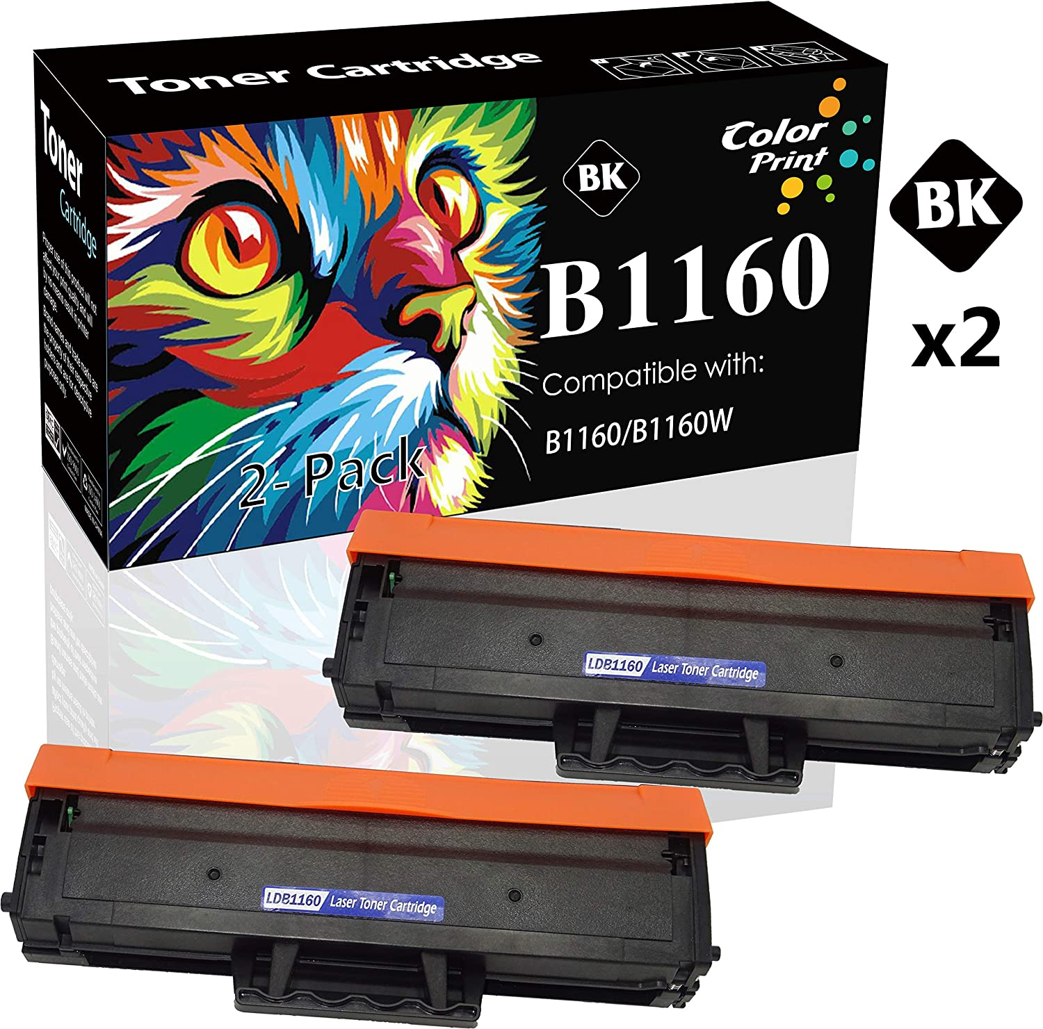 (2-Pack, Black) Compatible Dell YK1PM 331-7335 HF44N HF442 B1160W Toner Cartridge Used for Dell 1160 B1160 B1163w B1165nfw Mono Laser Printers, by ColorPrint