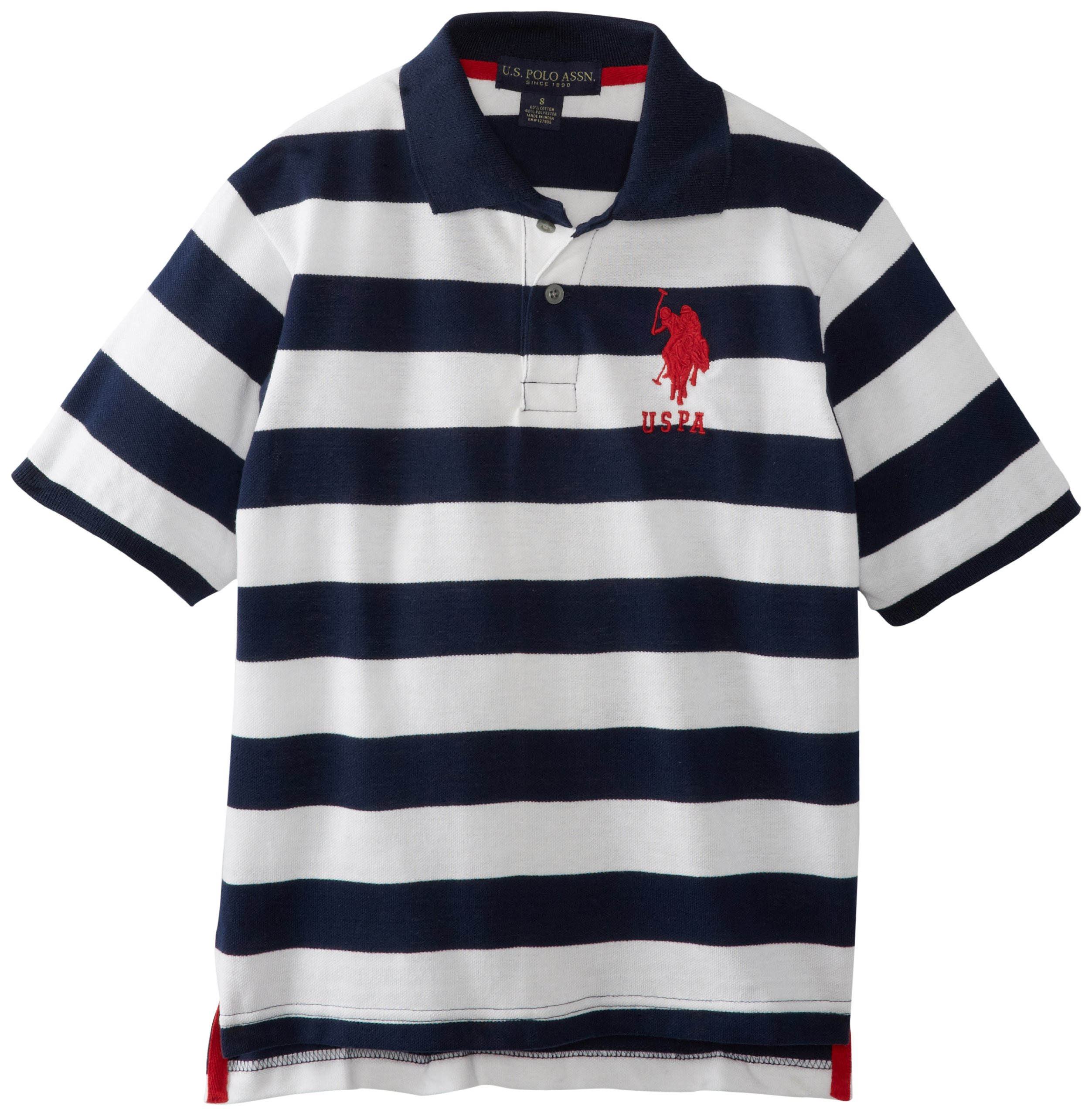 U.S. Polo Assn. Big Boys' Yarn Dyed Striped Polo, Classic Navy, 10/12
