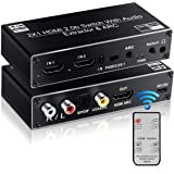 avedio links HDMI Switch Audio Extractor, HDMI Switch Splitter 2 Inputs 1 Output with Remote 4K@60hz, 2-Port HDMI2.0b…