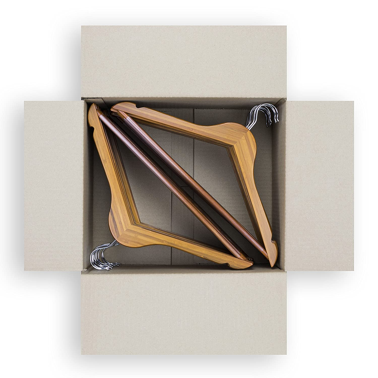 Neaties Bamboo Cherry Wood Hangers with Notches and Non-Slip Bar 24pk