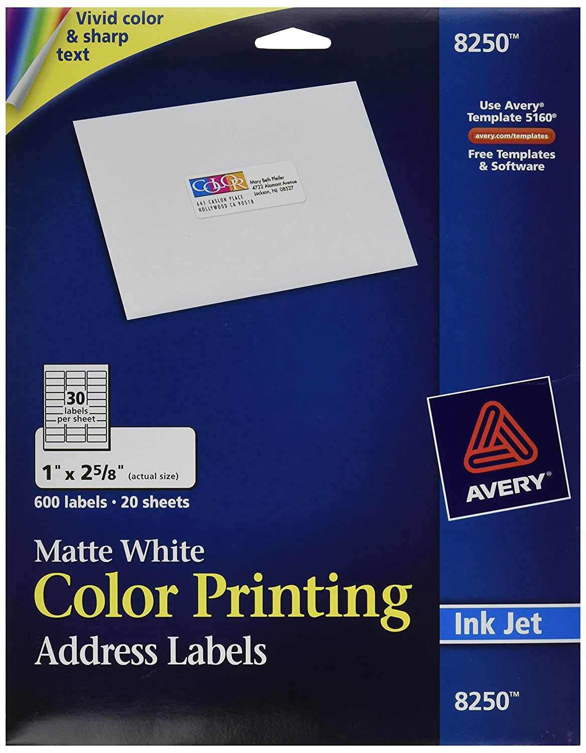 On Sale Avery Address Labels For Ink Jet Printers 8250 20 Sheets