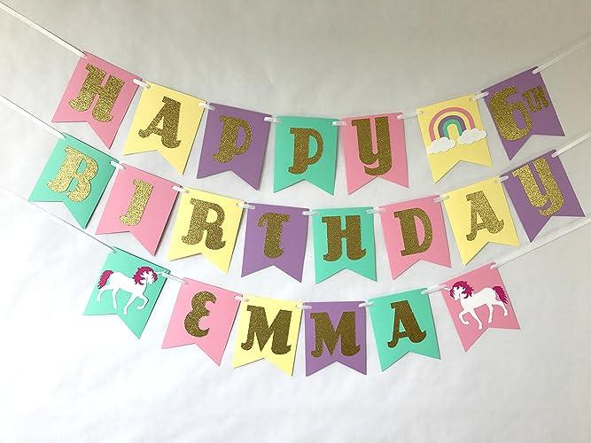 unicorn birthday banner gold glitter party supplies rainbow party pastel