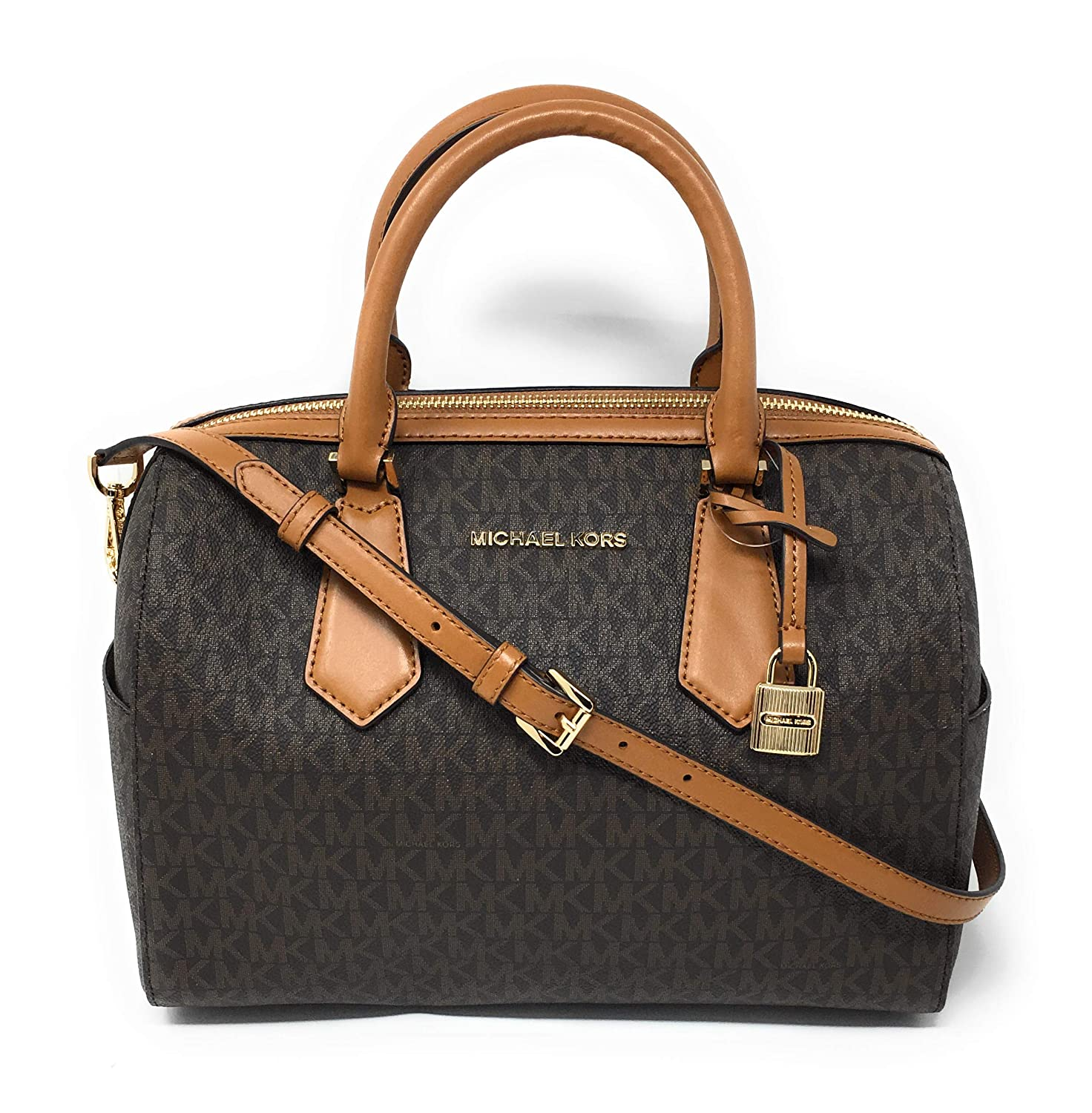 9793bbd75e6e Amazon.com  Michael Kors Hayes Large Duffle Satchel Bag Brown MK Signature   Shoes