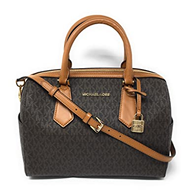 1030f22000268d Amazon.com: Michael Kors Hayes Large Duffle Satchel Bag Brown MK Signature:  Shoes