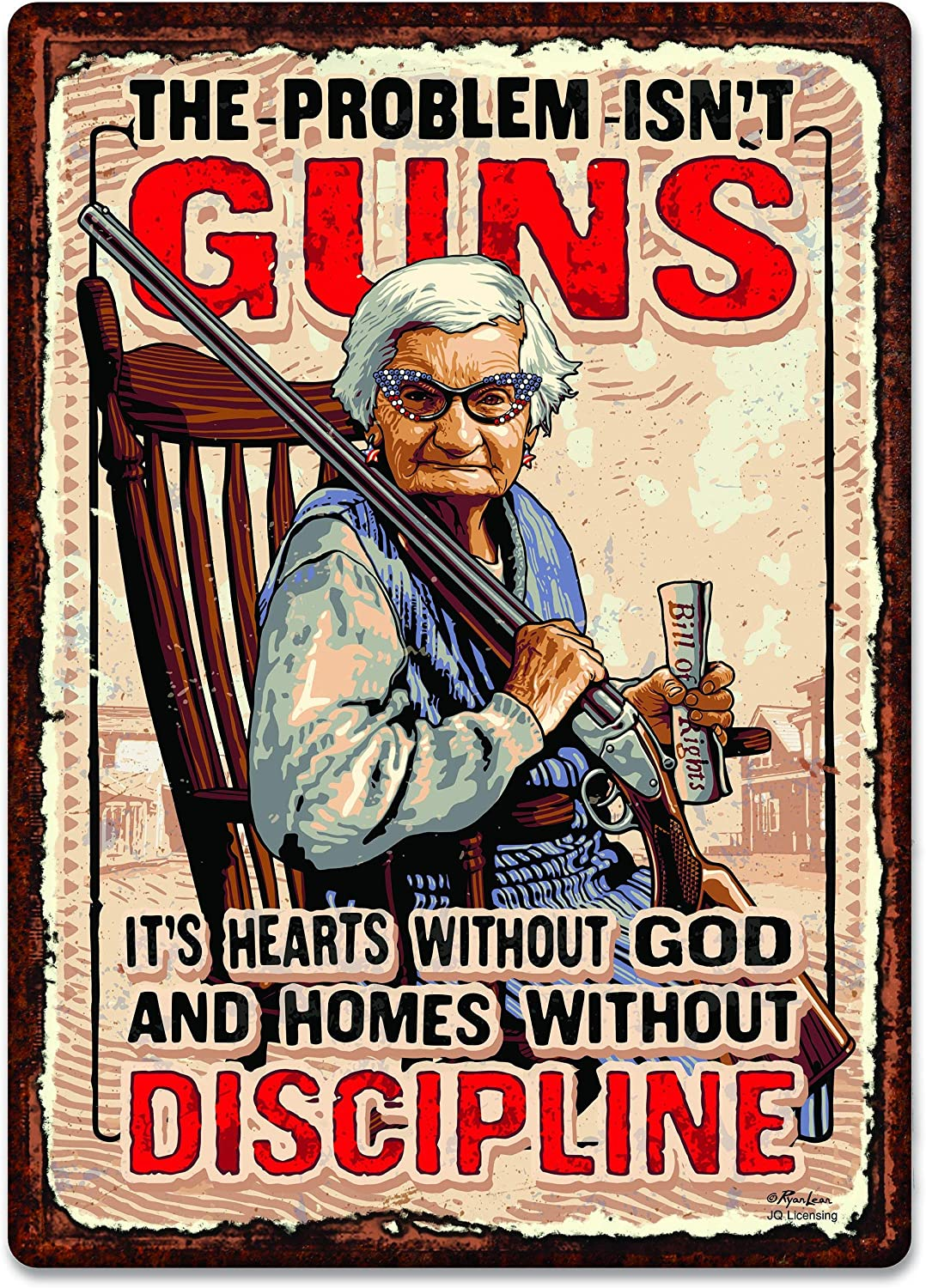 """PAGAIXI Bar Wall Decor The Problem Isn't Guns - It's Hearts Without god and Homes Without Discipline Man Cave Patio Tin Sign 8"""" x 12"""" Unique Metal Signs Vintage"""