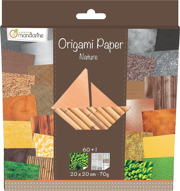 Avenue Mandarine - Carta per origami, 60 fogli, 20 x 20 cm, colore: Naturale 52503MD