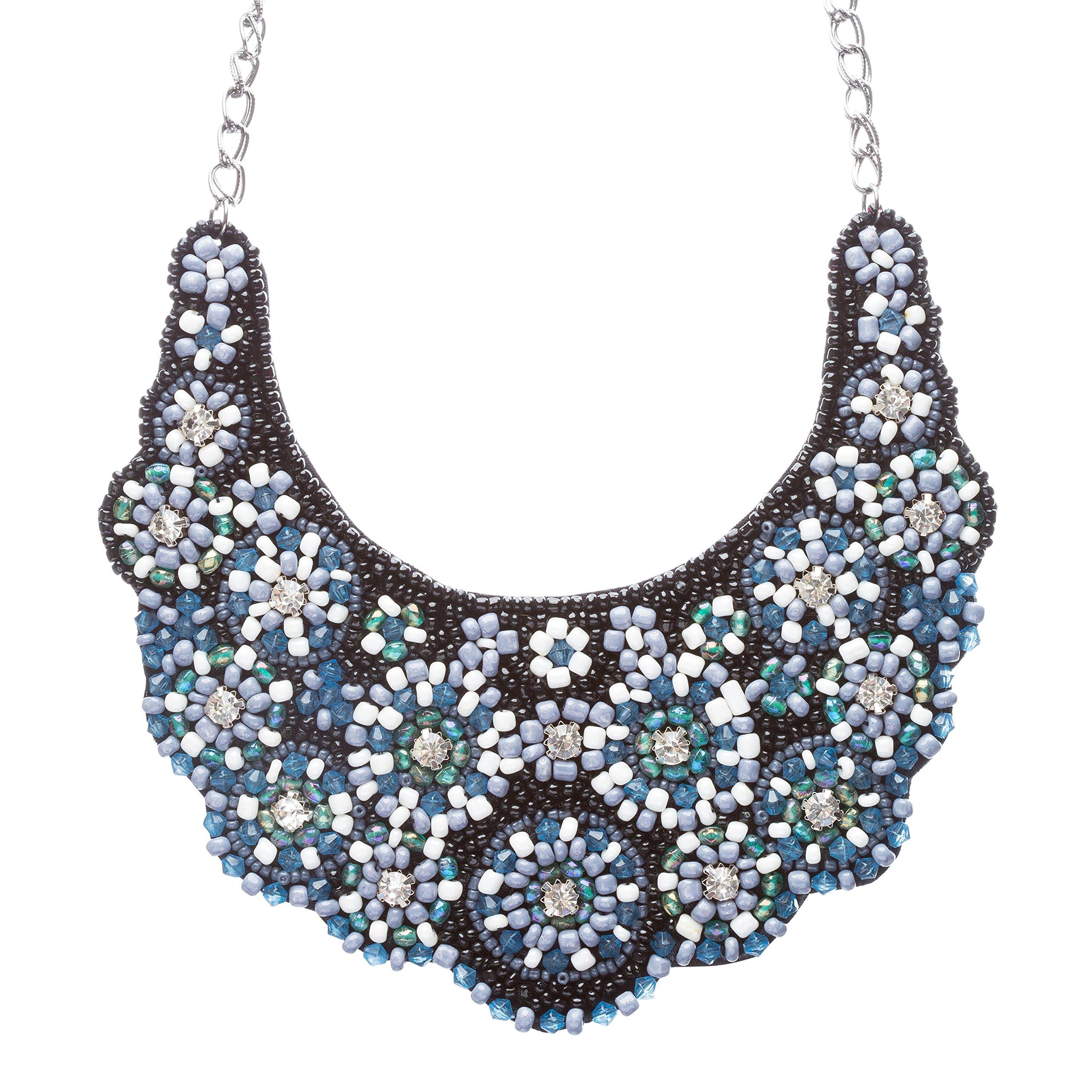 Meticulously Fascinating Crystal Rhinestone Beaded Bib Necklace N81 Black